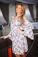 Женское платье на запах с завязками на плечах. Рукав с воланом. Размер 1 42-44 2 44-46. VH 8011
