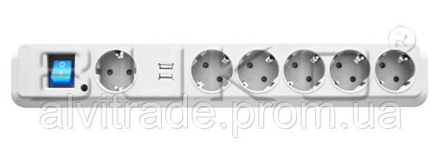 Удлинитель BUKO BK 2632, 6/2м с сетевым фильтром и 2*USB с/з 16А