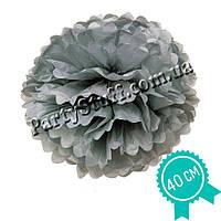 Декоративный помпон из тишью Серый, 40 см