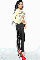 Оригинальные женские леггинсы со вставками экокожи и шнуровкой ниже колена дайвинг