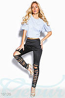 Облегающие стильный женские леггинсы с бахромой из экокожи ниже колена дайвинг