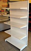 Стеллаж торговый комбинированный перфорированные стенки с навесными полками для магазина. В наличии, доставка