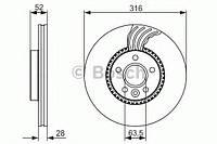 Гальмівний диск VOLVO/LAND ROVER Freelander,S60,S80,V70,XC70 2,0-3,2 06- F