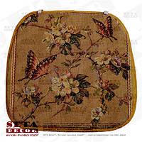 Сидушка гобеленовая Бабочки и цветы на стул на завязках