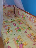 Комплект детской постели ТМ «ASIK» ( 8 ед. ) №143 «Мишки на прогулке» с розовым балдахином