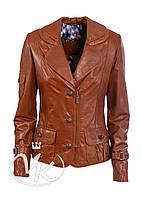 Рыжая кожаная куртка (размер М), фото 1