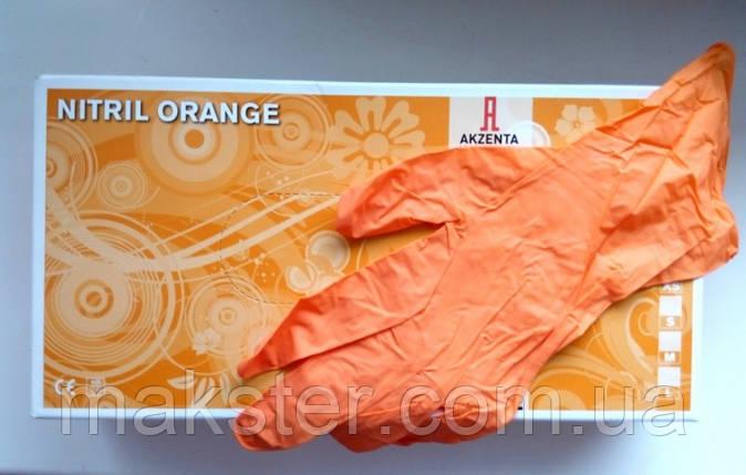 Перчатки нитриловые неопудренные Akzenta оранжевые, фото 2