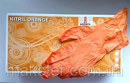 Перчатки нитриловые неопудренные Akzenta оранжевые