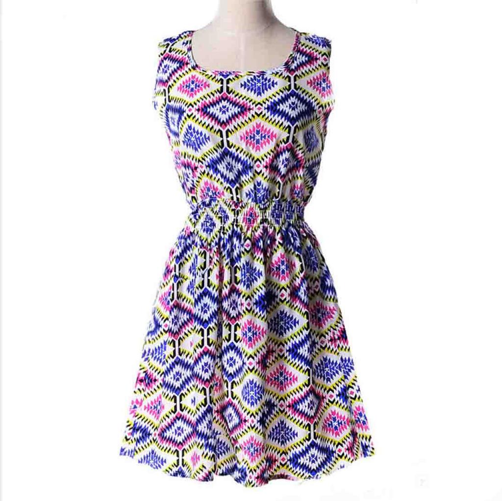 Платье женское с разноцветными ромбами летнее