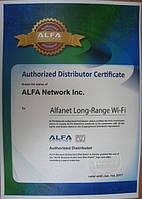 ALFA Authorized distributor certificate 2016
