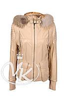 Бежевая кожаная куртка с мехом (размер XS), фото 1