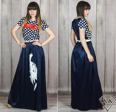 Темно-синее платье 152041 в пол, фото 2