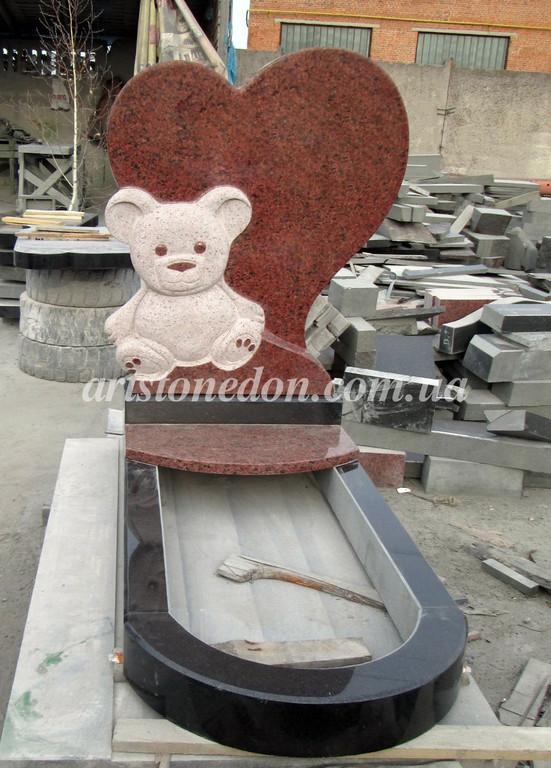 Памятник детский Мишка с сердцем