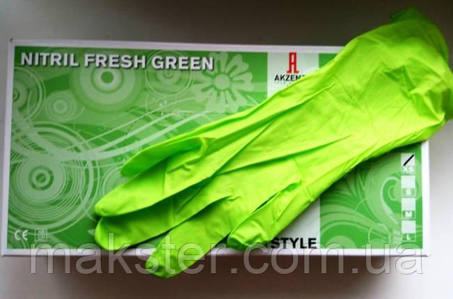 Перчатки нитриловые Akzenta зеленые(100 шт), фото 2