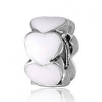 Шарм бусина Пандоры Белые Сердца серебро 925 пробы П5/8104