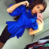 Женская синяя блуза с камнями DB-812