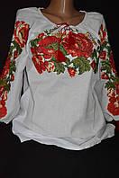 Женская вышиванка на домотканом Соломия реглан рукав
