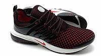 Кроссовки мужские Nike Air Presto Flyknit черные с красным