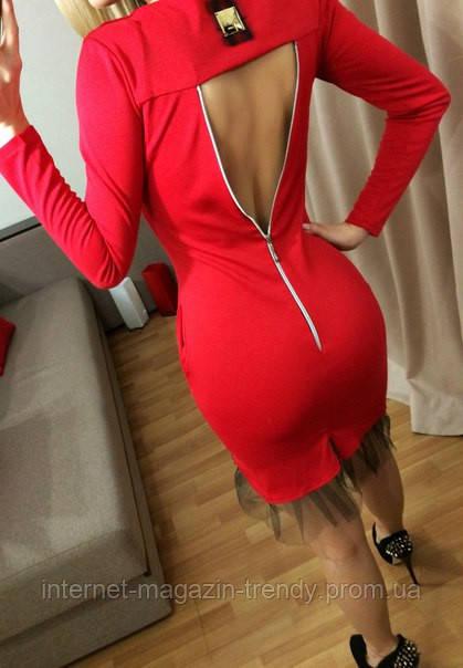 Короткое облегающее платье с вырезом на спине (3 цвета) 186