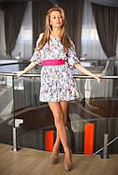 """Женское платье """"Фонарик принт"""". Основа полированый коттон. Размер универсал 1 (42-44) 2( 44-46). VH 8016"""