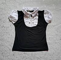 Блуза-обманка для девочек 116,128,140,146 роста с коротким рукавом Классика