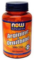 Аргинин Орнитин, Now Foods, Arginine Ornitine, 100 капсул