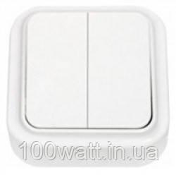 Выключатель 2-кл накладной белый Аватар GAV 654