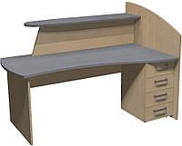 Стол Премьера рецепшн с ящиками (левый) 180х110*80х127 см