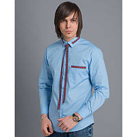 Мужская рубашка с красной вышивкой «Вузлик голубий»