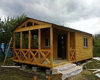 Маленький дачный домик 4м х 4м из блокхауса с террассой 4м х 3м, фото 1