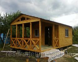 Маленький дачный домик 4м х 4м из блокхауса с террассой 4м х 3м