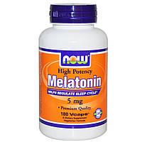 Мелатонин для крепкого сна, Now Foods, Melatonin, 5мг, 180 капсул