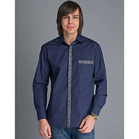 Мужская рубашка с вышивкой «Планка синя», фото 1