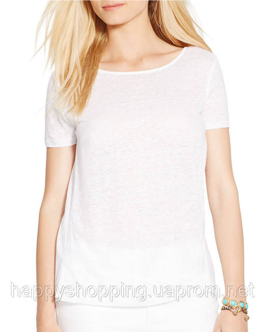 Белая льняная футболка Ralph Lauren