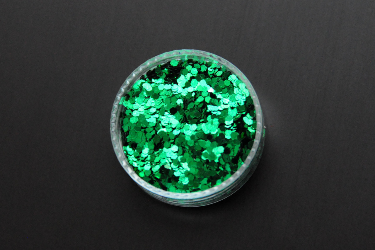 Глиттер многогранник для дизайна ногтей, зеленый