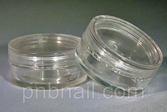 Баночка круглая пластиковая прозрачная 3см. х 1,5 см