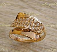 Золотое кольцо женское с цирконием.