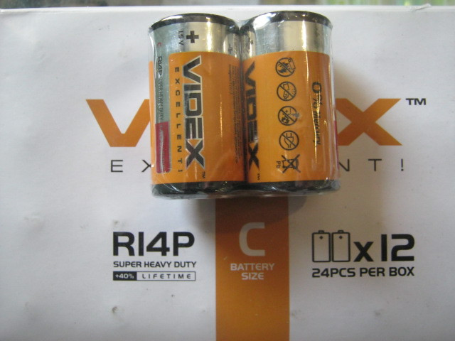 БАТАРЕЙКА VIDEX R14 (2 шт уп)