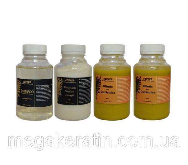 Мини-набор для кератинового выпрямления волос Blindagem Advanced от Coiffer 2х250мл+500мл кератина