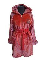 Женский махровый халат на змейке, короткий