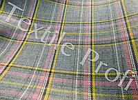 Костюмная шерстяная ткань Шотландка (розовая клетка)