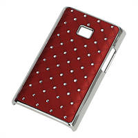 Чехол накладка Star Dust с камнями для LG Optimus L3 E400, бордовый пластик