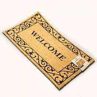 """Коврик в прихожую, придверный коврик из кокосового волокна """"Welcome"""" желтый"""