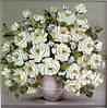 Картины художников. Живопись маслом цветы Белые розы. Декорирование интерьеров.