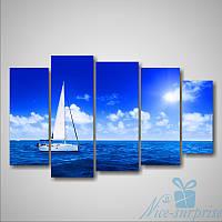 Модульная картина Белая яхта из 5 фрагментов