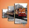 Модульная картина Поезд в Индии из 3 модулей
