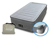Надувная велюр-кровать Intex со встроенным электронасосом 191х99х46 (64412)