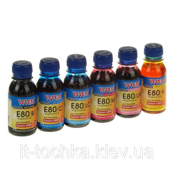 Комплект чернил wwm для epson l800 водорастворимые 6 х 100г black (e80set-2) с повышенной светостойкостью