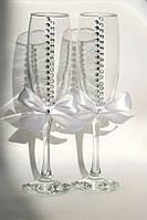 Нежные свадебные бокалы cо стразами  Елена