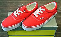 Яркие красные женские и подростковые кеды из текстиля HKR